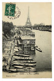 Rare vintage postcard with view on Eiffel Tower from Trocadero in Paris, France Royalty Free Stock Photography
