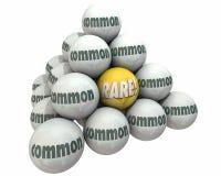 Rare Vs Common Rarity Value Ball Pyramid. 3d Illustration Royalty Free Stock Image