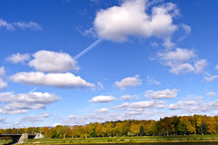 Rare white clouds in the blue autumn sky Royalty Free Stock Images