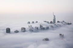 Rare winter morning fog in Dubai, UAE. Royalty Free Stock Photography
