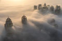 Rare winter morning fog in Dubai, UAE. Royalty Free Stock Photos