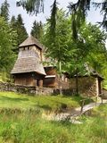 Rare Wooden Church. In open-air museum of Orava Village, This open-air museum shows typical folk architecture of Slovak rural communities and their life stile Royalty Free Stock Photo