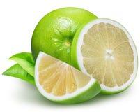 Raring grön grapefrukt som isoleras på vit bakgrund Royaltyfri Bild