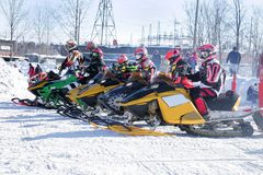 Raring to go 7. Taken at kirkland lake  ont snowcross racing on march 4th Stock Photo