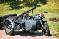 Rarity Blue Tricar Of Wehrmacht. Three-Wheeled Motorbike With. The Old Rarity Blue Tricar, Three-Wheeled Motorbike With The Machine Gun On Sidecar Of Wehrmacht Stock Images