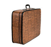 Rarity brown leather suitcase, isolated Stock Photo