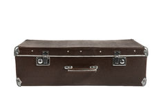 Rarity brown leather suitcase, isolated Royalty Free Stock Photography
