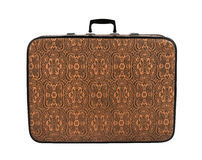 Rarity brown leather suitcase, isolated Royalty Free Stock Image