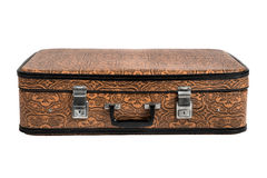 Rarity brown leather suitcase, isolated Royalty Free Stock Photo