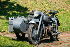 Rarity Three-Wheeled Motorcycle With Sidecar Of German Forces Of World War 2 Time Standing Royalty Free Stock Images