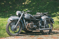 Rarity Three-Wheeled Motorcycle With Sidecar Of German Forces Of World War 2 Time Standing Stock Images