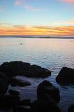 Rarotonga, ηλιοβασίλεμα νήσων Κουκ Στοκ Φωτογραφία