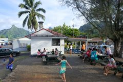 Avarua town cityscape Rarotonga Cook Islands. RAROTONGA - JAN 18 2018:Avarua town cityscape. Avarua is the national capital of the Cook Islands and the Royalty Free Stock Images