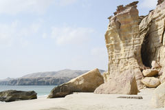 Ras al Jinz beach, Oman. Beautiful coastline of Ras al Jinz - popular turtle nesting place stock photos