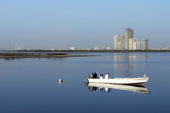 Ras Al Khaimah. Beautiful Ras Al Khaimah river and a lovely boat Royalty Free Stock Images