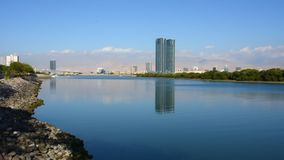 Ras Al Khaimah City in the United Arab Emirates in the late afternoon at the Corniche stock footage