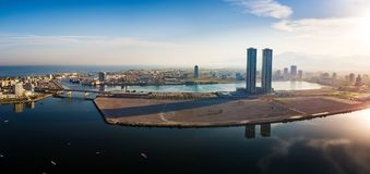 Ras al Khaimah emirate in the UAE aerial skyline view. At sunrise, creek, water, seaside, united, arab, emirates, rak, tower, panoramic, cityscape, cornish stock images