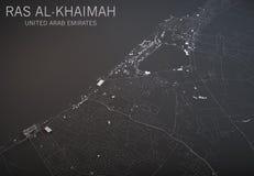 Ras Al Khaimah-kaart, satellietmening, 3d sectie, Emiraten Arabier verenigde zich, stad Stock Afbeeldingen
