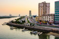 Ras Al Khaimah, United Arab Emirates - March 3, 2018: Ras Al Khaimah Corniche road and creek at dusk. The heart of northern emirate of the UAE stock photos