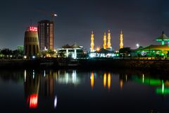 Ras Al Khaimah, United Arab Emirates - October 30, 2018: Ras Al. Khaimah creek night view with calm water at evening, the heart of northern emirate of the UAE royalty free stock photography