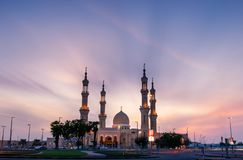 Ras Al Khaimah, United Arab Emirates - October 30, 2018: Shaikh. Zayed Mosque in Ras Al Khaimah at sunset, the heart of northern emirate of the UAE stock photo