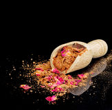 Ras el hanout - luxury exotic spices with rose petals. Royalty Free Stock Photo