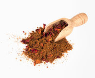Ras el hanout - over white with scoop, with rose petals stock photos