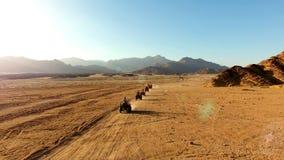 Ras op ATV in de woestijn stock afbeeldingen