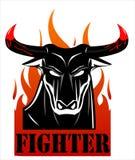 Rasa den svarta tjurkämpen över branden stock illustrationer