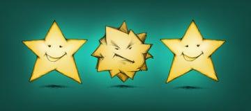 Rasande stjärna mellan gladlynta stjärnor Arkivfoton