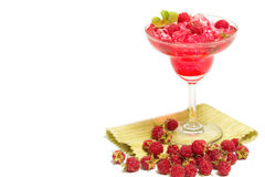 Rasberry与新rasberries的汁液饮料 免版税库存照片