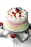 Rasberry cake. White chocolate with raspberry cake on white background Royalty Free Stock Photo