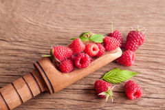 Rasberry. Fresh rasberry on wooden background. Natural food Stock Photography