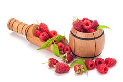 Rasberry. Fresh rasberry in wooden bowl  on white background Royalty Free Stock Image