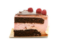 Rasberry mouse cake. Slice of rasberry mouse cake Stock Image