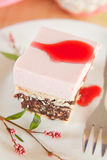 Rasberry mousse cake with biscuits Royalty Free Stock Photo
