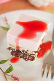 Rasberry mousse cake with biscuits Royalty Free Stock Photography