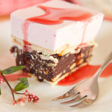 Rasberry mousse cake with biscuits Royalty Free Stock Images