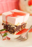 Rasberry mousse cake with biscuits Royalty Free Stock Image
