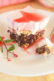 Rasberry mousse cake with biscuits Stock Images