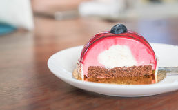 Rasberry Mousse Cake. On plate - dessert Royalty Free Stock Image