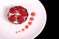 Rasberry mousse tart with strawberry sauce. Rasberry mousse tart on white plate Stock Images