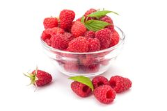 Rasberry. In glass bowl isolated on white background. natural food Royalty Free Stock Image