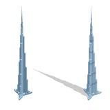 Rascacielos Burj Khalifan en United Arab Emirates, Dubai ilustración del vector