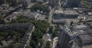 Rascacielos céntricos de Kiev de la visión de arriba aérea El viajar en la ciudad 4k 4096 x 2160 almacen de video