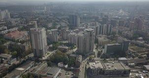 Rascacielos céntricos de Kiev de la visión de arriba aérea El viajar en la ciudad 4k 4096 x 2160 metrajes