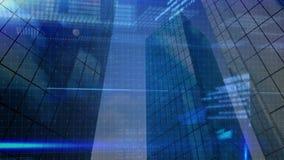 Rascacielos con la animación de la información de datos almacen de metraje de vídeo