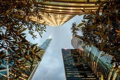 Rascacielos con la opinión de árboles en Hong Kong Fotos de archivo libres de regalías
