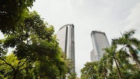 Rascacielos contra el contexto de palmeras Tiroteo en el movimiento Distrito de Makati en Manila filipinas almacen de metraje de vídeo