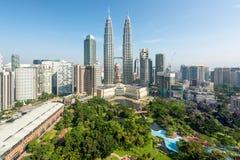 Rascacielos de la ciudad de Kuala Lumpur en Kuala Lumpur, Malasia Fotografía de archivo libre de regalías